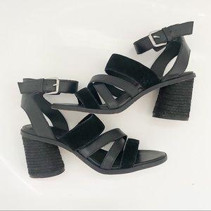 FRYE & CO Black Leiah Mixed Strap Sandal
